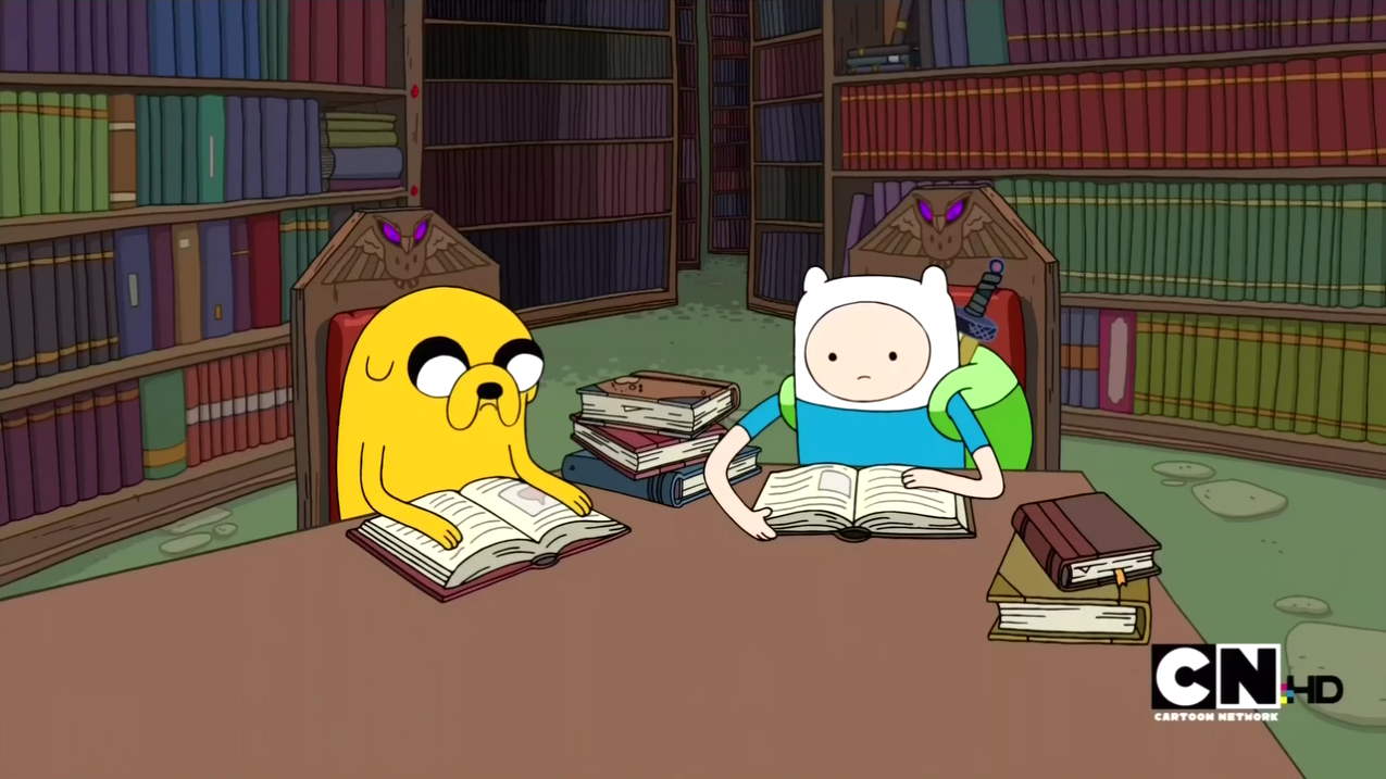 S2e15_finn_and_jake_reading_in_library