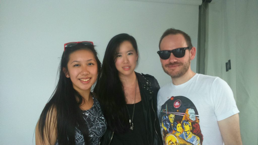 Iain Cook (right) and said Star Wars T-shirt, Madbuzz editor Michelle Li (middle) and Madbuzz writer Wincy Leung (left)