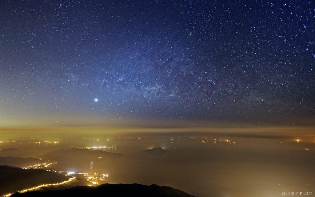 Stars and city lights
