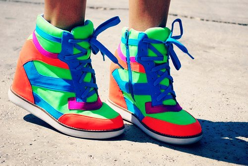 bright neon sneaker wedges for girls-f18867